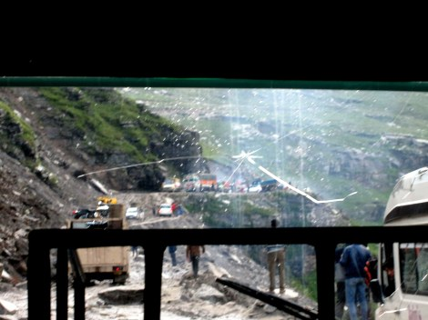 "View from the bus - brief stretch of what cause ""our night in Rohtang"""